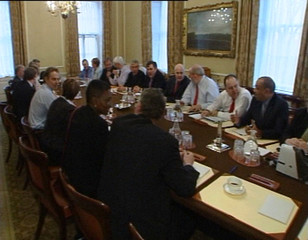 """A video grab shows """"political cabinet"""" meeting inside 10 Downing Street in London."""