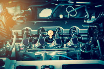 Powerful engine of a car. Internal design of engine with combustion and valve in dark tone