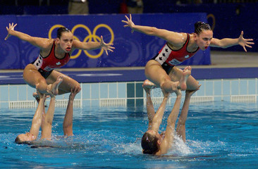 CANADIAN SYNCHRONIZED SWIMMING TEAM COMPETES AT OLYMPICS GAMES IN SYDNEY.