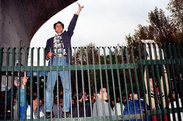IRANIAN STUDENTS PROTEST AT TEHRAN UNIVERSITY.