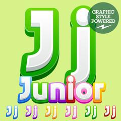 Vector cute children alphabet set. Contains different graphic style. Letter J