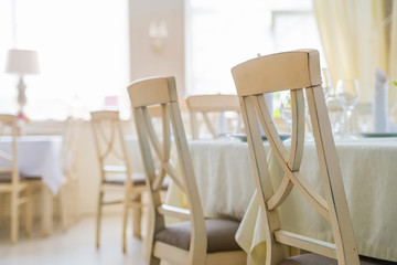 Elegant served table and chairs indoors