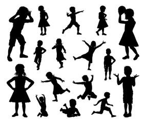 Kids Children Silhouette Set