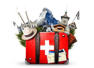 Switzerland, retro suitcase with the sights of Switzerland Wall mural