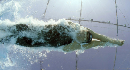Farhoud of Egypt competes in the men's 200m freestyle swimming heats at the World Championships in Rome