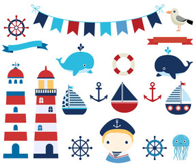 Nautical vector design elements with boats, helms and lighthouses for summer baby showers and invitations