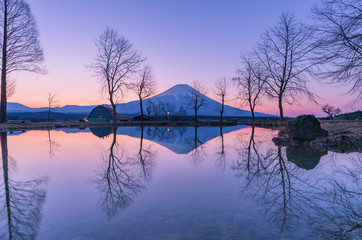 Aluminium Prints Reflection Fumotoppara campground in the morning with Mt. Fuji