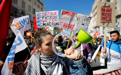 Demonstrators attend the traditional May Day labour day march in Marseille