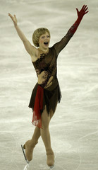 SOKOLOVA OF RUSSIA CELEBRATES AFTER HER FREE SKATING PROGRAMME AT THE EUROPEAN FIGURE SKATING ...