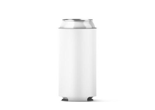 Blank white collapsible beer can koozie mock up isolated, for 500 ml, 3d rendering. Empty neoprene cooler holder mockup for tin beverage. Plain drinkware hugger design template. Clear soda sleeve