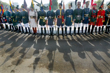 INDIAN ARMOURED CORPS LANCEMEN IN THEIR CEREMONIAL DRESS TAKE PART IN ARMY DAY PARADE IN NEW DELHI.