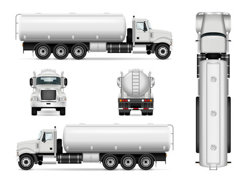 Tanker truck vector template for car branding and advertising. Isolated tanker car set on white. All layers and groups well organized for easy editing and recolor. View from side, front, back, top.