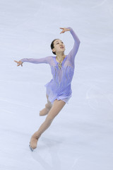 Japan's skater Mao Asada performs during the women's short  programme at the Bompard Trophy event at Bercy in Paris