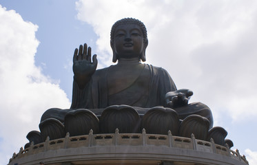 Large bronze Buddha in Hong Kong Lantau island China