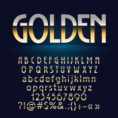 Vector exclusive set of golden alphabet letters, symbols, numbers. Contains graphic style