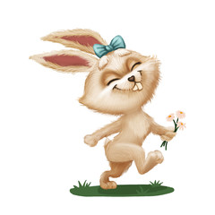 Happy Cute Furry Bunny with Flower - Cartoon Animal Character Running Across Green Field - Hand-Drawn Animated Mascot for Illustration, Magazine, Children's Book, Cover, Greeting or Post Card