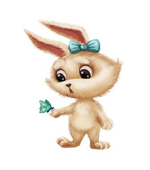 Cute Furry Bunny with Butterfly - Cartoon Animal Character Surprised and Amazed - Hand-Drawn Animated Mascot for Illustration, Magazine, Children's Book, Cover, Greeting or Post Card