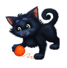 Cute Little Furry Kitten - Cartoon Animal Character Playing with Ball - Hand-Drawn Animated Mascot for Illustration, Magazine, Children's Book, Cover, Invitation, Greeting or Post Card