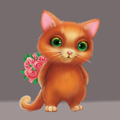 Cute Smiling Furry Kitten Holding Flowers as Present for Loved One - Green-Eyed Hand-Drawn Cartoon Animal Character for Greeting or Post Card, Banner, Gift Card, Poster or Booklet