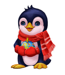 Season's Greetings with Cute Little Penguin in Funny Scarf Holding Party Toys - Merry Christmas and New Year with Hand-Drawn Character for Greeting or Post Card, Banner, Gift Card, Poster or Booklet