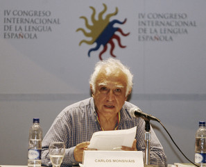 Mexican writer Monsivais gives a speech the IV International Congress of Spanish language at the Caribbean city of Cartagena