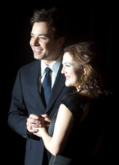 Jimmy Fallon and Drew Barrymore arrive at 20th Century Fox luncheon at ShoWest in Las Vegas.