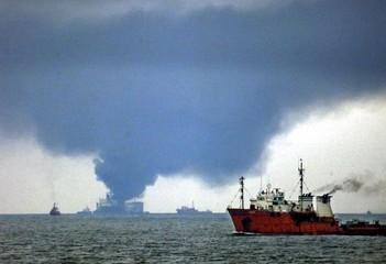 A BULGARIAN OIL TANKER BURNS OUTSIDE ROMANIAN PORT OF CONSTANTA.