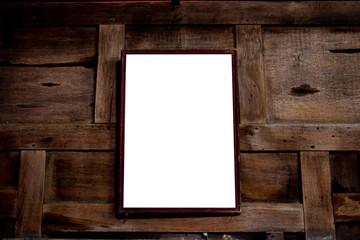 old photo frame on wood background