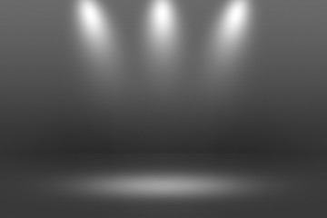 Product Showscase Spotlight on Black Background - Clear Infinite Horizon Dark Floor - Room Stage for Modern Clean Minimalist Scene Design, Wide-Screen in High Resolution