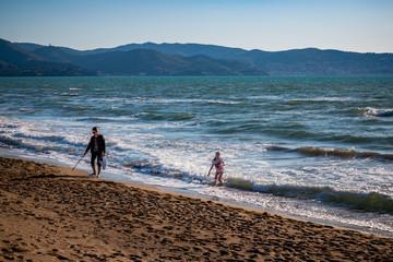Sur la plage d'Orbetello en Toscane
