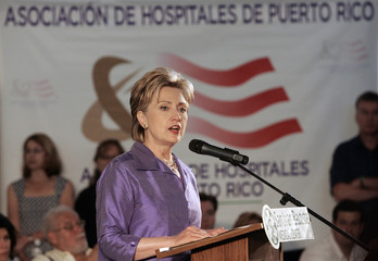 U.S. Democratic presidential candidate Sen. Hillary Clinton (D-NY) speaks during a campaign rally San Juan Bautista Medical Center in Caguas