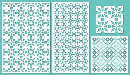 Set of decorative panels laser cutting. Universal mesh mosaic pattern. The ratio of 2: 3, 1: 2, 1: 1, seamless. Vector illustration.