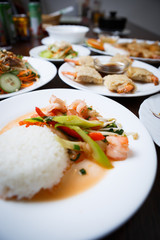Vietnamese restaurant menu.Tasty Asian food big dinner