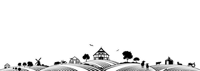 Silhouette Bauernhof und Landwirtschaft