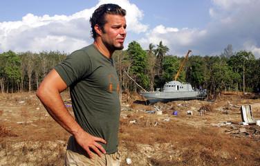 Latin pop star singer Ricky Martin visits tsunami-battered Thailand's Khao Lak Beach.