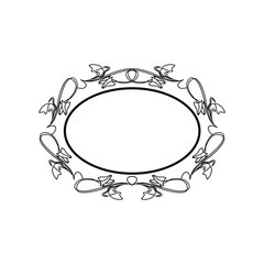 Vintage Calligraphic Frame - Round Decorative Floral Element with Lines, Flourishes, Scrolls and Swirls Isolated in Black Vector - for Page Decor, Borders, Letters, Invitations, Cards, Logo or Menu