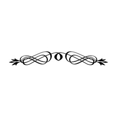 Vintage Calligraphic Wicker Rosette - Decorative Vignette with Floral Elements of Lines, Flourishes, Scrolls and Swirls Isolated in Black Vector for Business, Logo, Menu, Greeting Card or Invitation