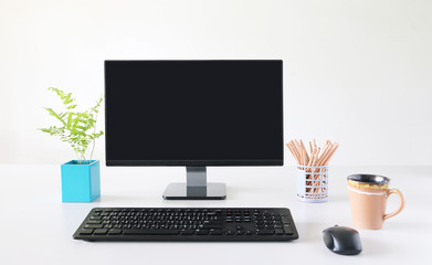 Computer, Desktop PC. for business ,background white Office.copy space.