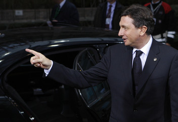 Slovenia's PM Pahor arrives at a EU leaders summit in Brussels