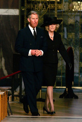 Prince Charles and Camilla Parker-Bowles attend a service in memory of Pope John Paul II at London's ...