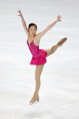 U.S. skater Caroline Zhang performs during the women's free skating programme at the Bompard Trophy event at Bercy in Paris
