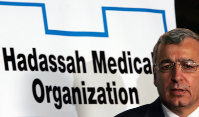 Hadassah Hospital director Mor-Yosef updates media on Israeli PM Sharon's medical condition outside hospital in Jerusalem
