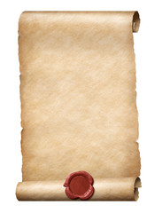 parhment scroll with red wax royal seal 3d illustration