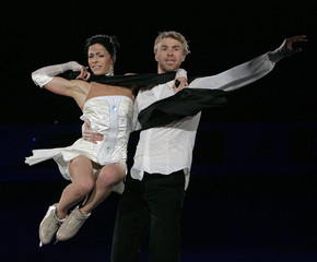 Delobel and Schoenfelder of France perform during the gala exhibition of the ISU Grand Prix of Figure Skating Final in Goyang