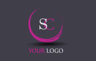 SC Letter Logo Circular Purple Splash Brush Concept.