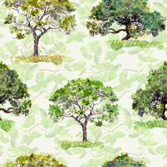 Green trees. Park, forest pattern. Seamless background with leaves. Watercolour