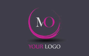 MO Letter Logo Circular Purple Splash Brush Concept.