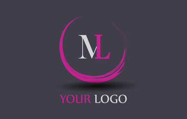 ML Letter Logo Circular Purple Splash Brush Concept.