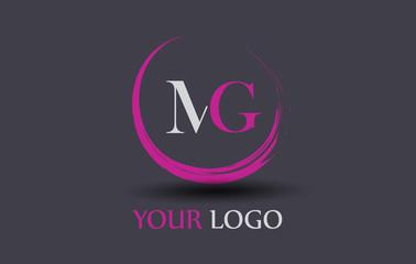 MG Letter Logo Circular Purple Splash Brush Concept.