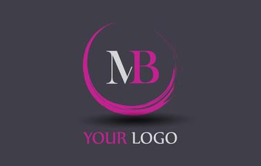 MB Letter Logo Circular Purple Splash Brush Concept.